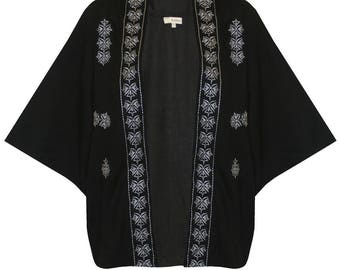 Plus Size Kimono Sleeve Embroidered Patterned Cardigan -  BLACK