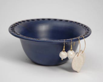 Pottery earring organizer, pottery earring holder, ceramic earring bowl, cobalt blue