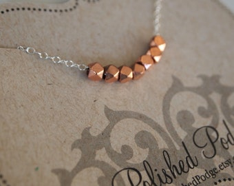 Simple copper necklace, Copper bead necklace, copper and silver bead necklace, silver and copper beaded necklace, simple bead necklace