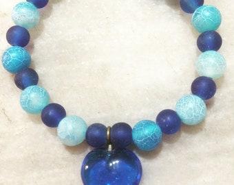 Dragon Vein Agate, Agate bracelet, blue dragon vein bracelet, elastic bracelet