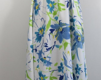 SALE! Now Half Price! 1970s Blue Floral Elasticated Waist Skirt UK 12