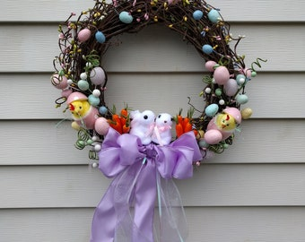 Grapevine Easter Wreath with Bunnies, Easter Eggs, and Baby Chicks - Spring Easter Wreath