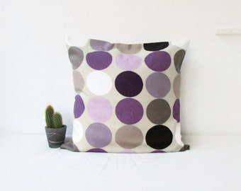 Spotty cushion cover, Purple and beige throw pillow, purple home decor, cotton pillow cover, British designer fabric, Handmade in the UK