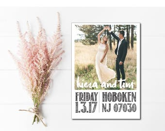 Custom save the date cards with engagement photo, rustic save the date postcard, printable save the dates, save the dates with custom photo
