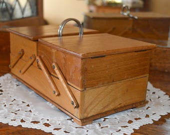 Vintage Wood Fold Out Sewing Basket, Travel Sewing Caddy, Mid Century, 1950 Hand Crafted Sewing Box, Mothers Day Gift for Her, Gift for Mom