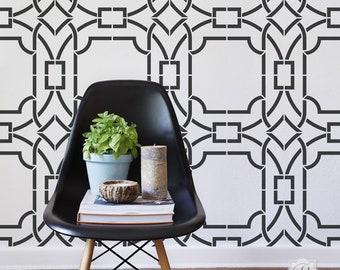Large Modern Wall Art Stencils for Geometric Designer Wallpaper Trellis Pattern - Painted DIY Wall Mural