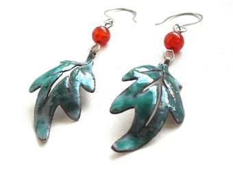 Copper earrings with carnelian