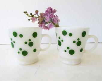 2 Hazel Atlas Milk Glass Mugs with Green Polka Dots - Platonite Milkglass - Greeen and White - Polka Dot Milk Glass -
