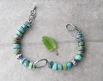 rustic turquoise bracelet, turquoise and silver bracelet, oxidized silver