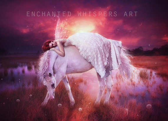 fantasy fairy and horse art print