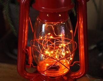 Battery Operated LED Fairy Lights Lantern Table Lamp, RED LANTERN, Hurricane Lantern, Night Light, Rustic Lantern Light