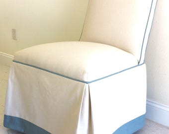 Upholstered  Dining Room Parson Chair with Skirt