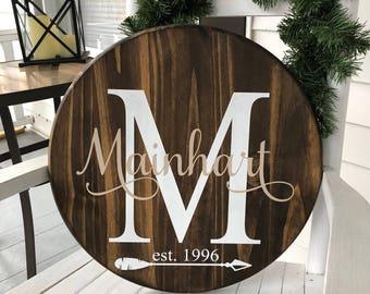Round wooden monogram sign