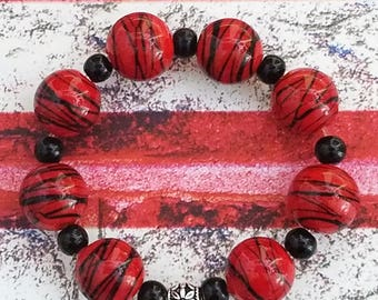 Handmade Large Red and Black Glass Beaded Bracelet on a Stretchy Cord