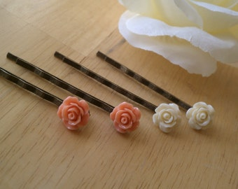 Gift for Niece, Gift for Granddaughter, Flower Bobby pins, Off White Rose Bobby pins, Coral Bobby Pins