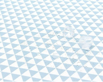 Waterproof Fabric, Light Blue Triangles, Geometric - 59 Inches Wide - By the Yard 73536 GJ