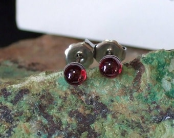 Longer Posts Red Garnet 4mm Round Stud Post Earrings Earings Titanium Ear Post and Clutch Hypo Allergenic