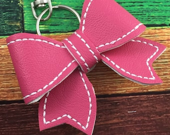 Bow Keychain - backpack dangle -planner charm -keyring -faux leather bow -custom color - school spirit  - back to school -rstocking stuffers