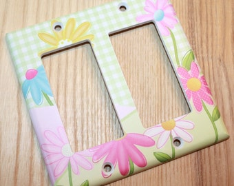 Pretty Garden Flowers Girl's Bedroom Double Light Switch Cover