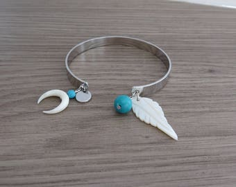 LUNA Bangle half moon silver mother of Pearl peacock blue turquoise stone Horn