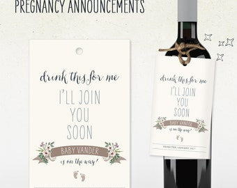 Pregnancy Announcement // Custom Wine Tag // drink this for me i'll join you soon // baby footprints // baby is on the way! with due date
