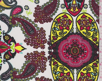 White/Red/Mint Paisley Polyester Crepe, Fabric By The Yard