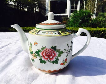 Teapot Chinese with pretty floral and fruit design