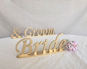 signs for wedding table decoration in GOLD Bride & Groom wedding table decoration Groom and Bride sign for sweetheart table decor