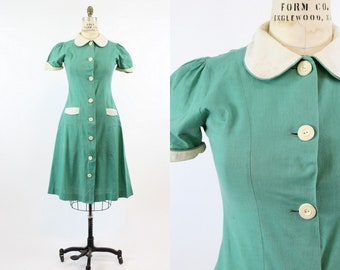 50s Dress Waitress Uniform Large / 1950s Vintage Peter Pan Collar / Sweet Victory Pie Dress