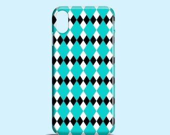 Turquoise Argyle iPhone X case, black and white iPhone 8 case, 8 Plus, 7 Plus, tribal iPhone 7 case, mint iPhone 6 case, iPhone SE cover
