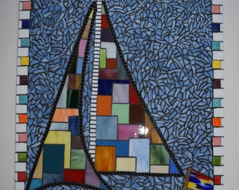Stained Glass Sailboat - Glass Mosaic - Crazy Quilt Pattern - Lake Home Art