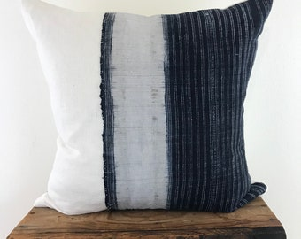 Hmong Indigo and White Linen Pillow Cover