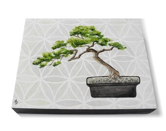 Bonsai Tree painting - flower of life - meditation painting - good luck - housewarming gift - miniature tree - zen painting - zen art