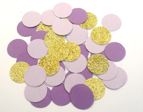 Lavender Lilac Gold Glitter Confetti Wedding Confetti Purple