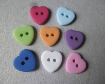 resin form heart 2 hole 12 mm x 10 mixed buttons