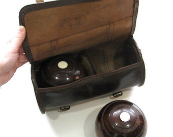 Bocce Ball Lawn Bowling Taylor Rolph England Leather Case Set