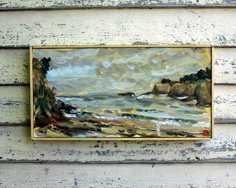 "Mendocino Coast, Plein Air Landscape Oil Painting, 9x18"""