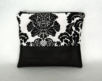 Black and White Damask Zipper Pouch with Vinyl Accent and Bright Pink Lining
