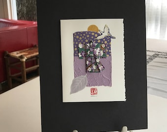 Matted Kimono Collage Purple