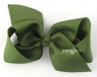 Girls Hair Bow - olive green hair bow - Loopy Bows - large hair bows - big hair bows - bows for girls - toddler hairbow 3.5 inch bows