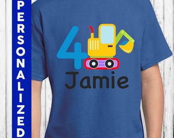 Personalized Tractor Birthday Shirt | 100% Cotton Shirt | Tractor | Dig it Up Party | Custom Boys Shirt | Personalized Shirt Boys