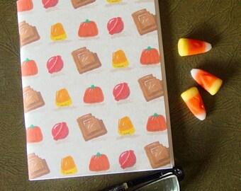 Halloween Candy Pocket Notebook - Candy Corn Pumpkin Chocolate Lollipop Sucker