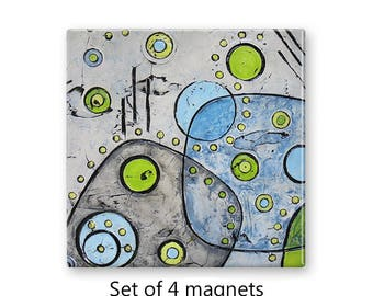 Abstract art magnets, mid century modern, refrigerator magnets, fridge magnet set, set of 4 decorative magnets, kitchen decor