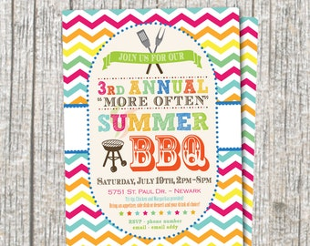Annual Summer BBQ Party Invitation / BBQ Birthday Party Invitation