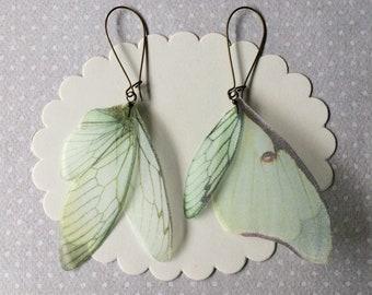 Boucles d'oreilles en Organza de soie ailes de papillon fait à la main, Actias Luna et cigale - vert ailes boucles d'oreilles