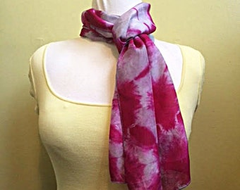 Hand-Dyed Habotai Silk Shibori Scarf.  One-of-a-Kind Silk Scarf.  Purple on Mauve Habotai Scarf.  Long Scarf. Mother's Day Gift
