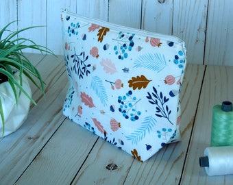 Fall and Feather Medium cosmetic bag/ cosmetic bag/ Medium zip bag/ Travel bag/ Accessory bag