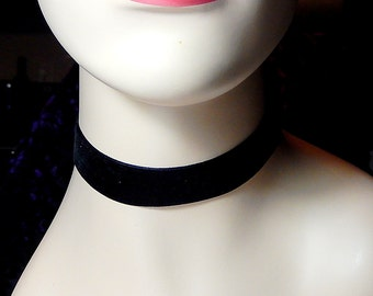 Wide Black Velvet Choker Necklace, Boho Necklace, 90s Jewelry, Grunge, Retro