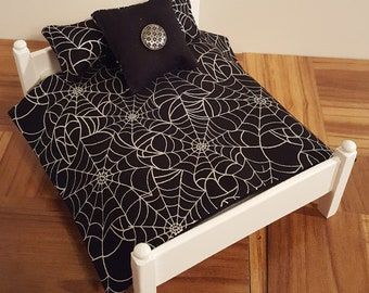 1:12 scale bedding/ 1/12 scale quilt/ miniature coverlet / 1/12 scale linens/ gothic doll house bedding/ / macabre/ black spider web