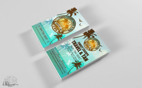 Tropical business card design beach business card travel tropical business card design beach business card travel tanning business card printable design logo personal cards business branding reheart Choice Image